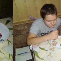 Kézzel festett tányér és bögre